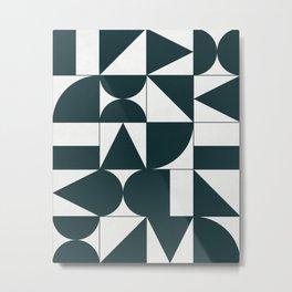 My Favorite Geometric Patterns No.17 - Green Tinted Navy Blue Metal Print
