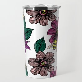 Bright Floral with Bees Travel Mug