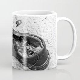 Forgotten black shoe in sand Coffee Mug