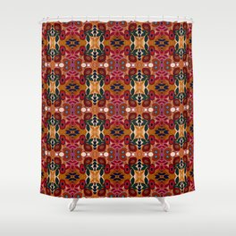 Red Coral Orange Green Floral Pattern Shower Curtain