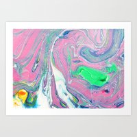 Colorful Marbled Art Art Print