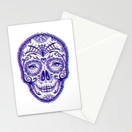 Sugar Skull (Calavera) Chromatic Aberration - Cyan Magenta Stationery Cards