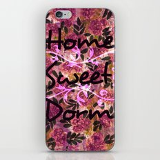 HOME SWEET DORM Colorful Floral Fine Art Trendy Typography Quote Feminine Pink Hipster Girly Cool iPhone & iPod Skin