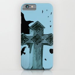 Gothic Cross Headstone With Crows and Ravens iPhone Case