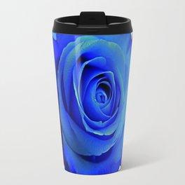 CONTEMPORARY  DECO  BLUE ROSE & BROWN ART Travel Mug