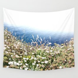 Flowers by the cliff Wall Tapestry