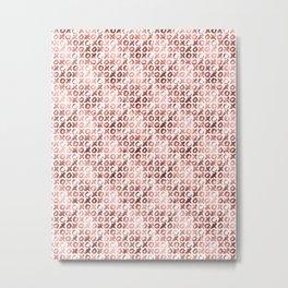XOXO Kiss Me Rose Gold Pattern 2 Metal Print
