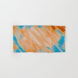 orange brown and blue painting abstract background Hand & Bath Towel