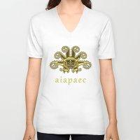peru V-neck T-shirts featuring Ancient Peru - Ai Apaec by Franco Olivera