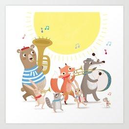 Children's Nursery Music Animal Band Art Print