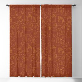 African Animal Mudcloth in Rust + Ochre Blackout Curtain