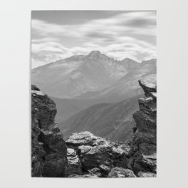 LONGS PEAK BLACK & WHITE - COLORADO ROCKY MOUNTAIN NATIONAL PARK - LANDSCAPE NATURE PHOTOGRAPHY Poster