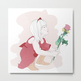 Little girl loves flowers Metal Print