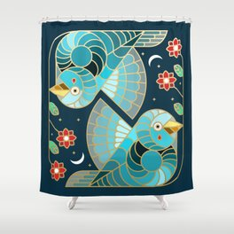 Beautiful Art Deco Midnight Bluebirds And Blossoms Shower Curtain