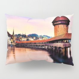 Lucerne, Switzerland Chapel Covered Bridge Pillow Sham