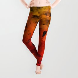 Cherry, Orange and Gold Abstract Ombre Leggings