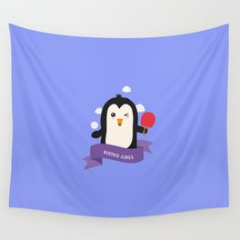 Penguin table tennis from BUENOS AIRES T-Shirt Wall Tapestry