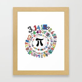 Colorful and Fun Depiction of Pi Calculated Framed Art Print