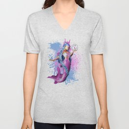 Mermaid with Butterfly Unisex V-Neck