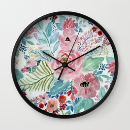 Pretty watercolor hand paint floral artwork. Wall Clock