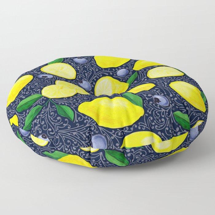 Lemon Blueberry Tart Floor Pillow
