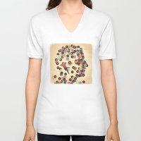 vinyl V-neck T-shirts featuring Vinyl by Davide Bonazzi