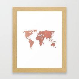 Faux Rose Gold World Map Framed Art Print
