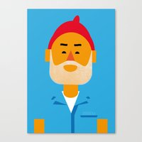 zissou Canvas Prints featuring Steve Zissou by Marco Recuero