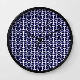 Maritime Nautical Blue and White Small Anchor Pattern Wall Clock