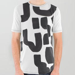 Colorful Minimalist Mid Century Modern Black White Tribal Ink Cave Abstract Shapes All Over Graphic Tee