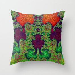 Psychedelic Centrepiece - Mirrored Fractal Art Throw Pillow