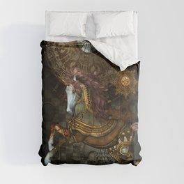 Steampunk,mystical steampunk unicorn Comforters