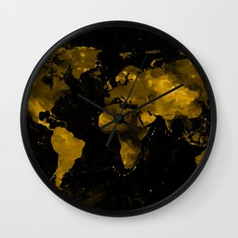 Gold Marble World Map Wall Clock