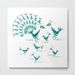 Peacock Family Metal Print