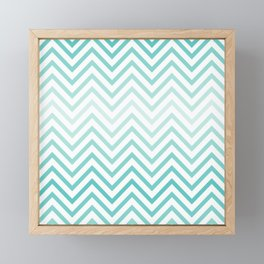 Faded Ocean Blue Chevron Summer Beach Pattern Framed Mini Art Print