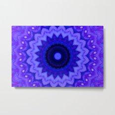 Lovely Healing Mandala  in Brilliant Colors: Black, Purple, and Blue Metal Print