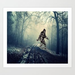 Misty Railway Bigfoot Crossing Art Print