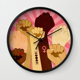 Female hands with fist raised up, retro style illustration Wall Clock