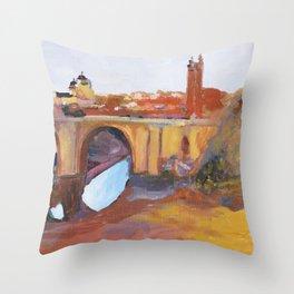Toledo, Impressionist landscape, Spanish town, bridge Throw Pillow