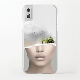 minimal collage /silence2 Clear iPhone Case
