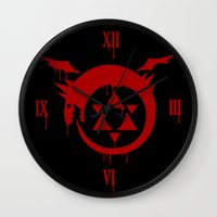 fullmetal Wall Clocks featuring Ouroboros by KanaHyde