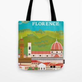 Florence, Italy - Skyline Illustration by Loose Petals Tote Bag
