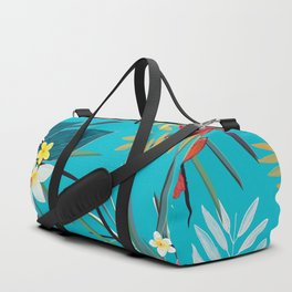 Frangipani, Lily Palm Leaves Tropical Vibrant Colored Trendy Summer Pattern Duffle Bag