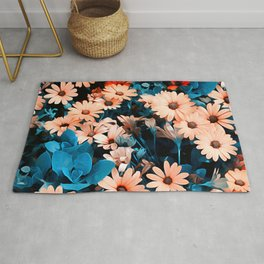 Colourful Daisies Pattern Rug