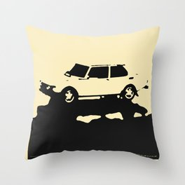 Saab 99 EMS, Black on Cream Throw Pillow