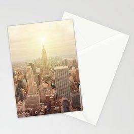 New York City skyline. Vintage skyscraper photo Stationery Cards