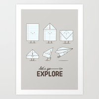 ilovedoodle Art Prints featuring Let's go explore by I Love Doodle