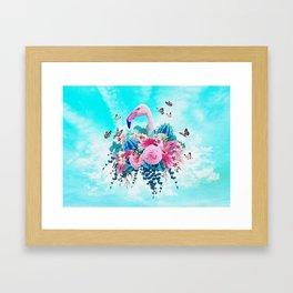 FLORAL FLAMINGO Framed Art Print