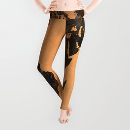 Grungy Abstract World Map Leggings