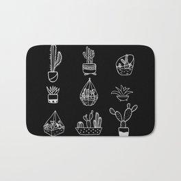 Minimalist Cacti Collection White on Black Bath Mat